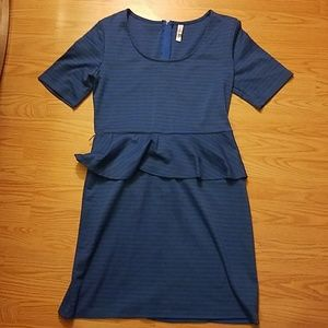Xhilaration blue gray striped dress
